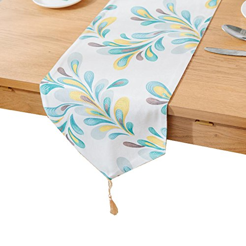 Feicuan Tischläufer Feather Cotton Linen Kitchen Home Decor Feather 30x200cm(12