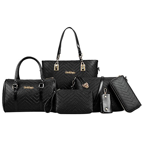 Coofit Frauen Geldbörsen Handtaschen Damen Crossbody Tasche Messenger Bag Tasche 6 Sets (Large, Embossing Black) (High-end Damen-geldbörse)