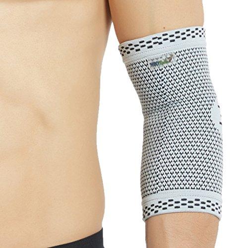 Neotech Care - Ellenbogenbandage (1 Einheit) - Bambusfaser & 3D-Strickgewebe - elastisch & atmungsaktiv - für Golf, Tennis, Sport - rechter oder linker Arm - Grau - XL