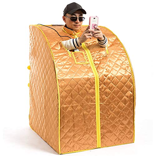 JERKEY Persönliche Sauna, Infrarot weit tragbares persönliches Innen-Spa-Sauna-Haupt-Spa-Ganzkörpersauna-Zelt mit Ferninfrarot-Heizplatte, Heizfußpolster und -Stuhl,Gold,1 -