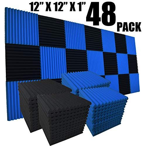 48Stück schwarz blau 2,5x 30,5x 30,5cm Keil Studio Akustik Schaumstoff Dämmunterlage Wand Paneele