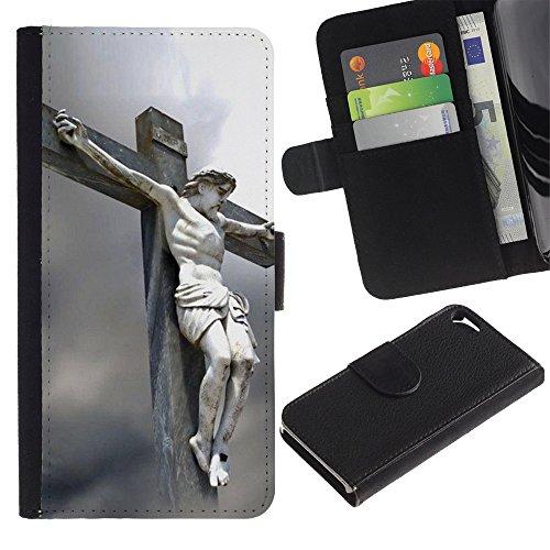 Graphic4You Jesus Christian Design Brieftasche Leder Hülle Case Schutzhülle für Apple iPhone SE / 5 / 5S Design #1