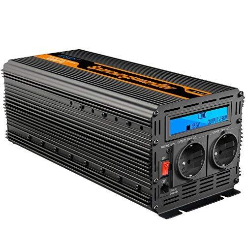 EDECOA spannungswandler 12v 230v wechselrichte 3000W 12 Volt spannungswandler modifizierte Sinu LCD