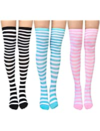 2a91fab3453 Chalier Womens Knee-High Socks stretchy striped Stocking Thigh High Socks 2  or 3 Pairs