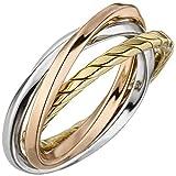 Jobo Damen Ring verschlungen 925 Sterling Silber Tricolor Dreifarbig Vergoldet Größe 56