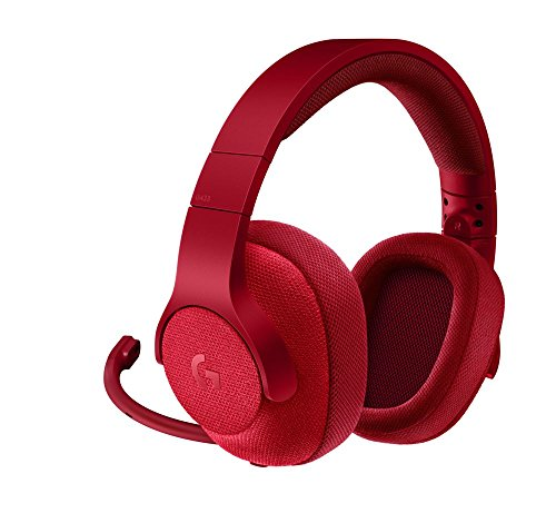 Logitech g433 cuffia con microfono per giochi cablata, audio surround 7.1, per pc, xbox one, ps4, switch, dispositivi mobili, rosso