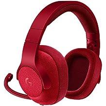 Logitech G433 - Auriculares con micrófono y cable para gaming (sonido envolvente, PC, Xbox One, PS4, Switch) rojo