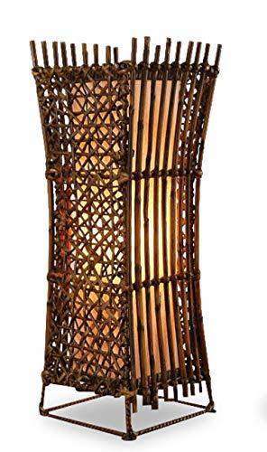 Asia Wohnstudio Asiatische Nachttischlampe Konkav Tischlampe aus Bambus und Rattan (Handarbeit) Tischleuchte E27 Fassung - Asiatische Tischleuchte