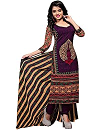 Rajnandini Women's Cotton Printed Dress Material(JOPLVSM3831_Purple_Free Size)