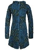 Vishes - Alternative Bekleidung - Damen Hippie Patchworkmantel Baumwolle Cutwork Druck Zipfelkapuze türkis 40