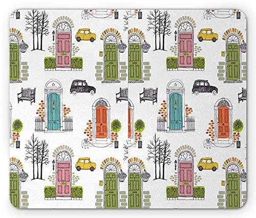 Vintage Mouse Pad, Vintage House Doors Art Pattern City Collage Entrance Dog Car Gate Image, Standard Size Rectangle Non-Slip Rubber Mousepad, White Pink Green Blue -