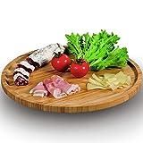 maxcasa Piatto Girevole da Tavolo Alzata Vassoio Porta Antipasti Torta Salse in Legno Bamboo Diametro 36 cm Colore bambù Naturale