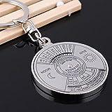 Gaddrt KeyChain 50 Jahre ewiger Kalender-Schlüsselanhänger Einzigartiger Kompass-Schlüsselanhänger aus Metall Schlüsselkette 4.3 x 0.4cm