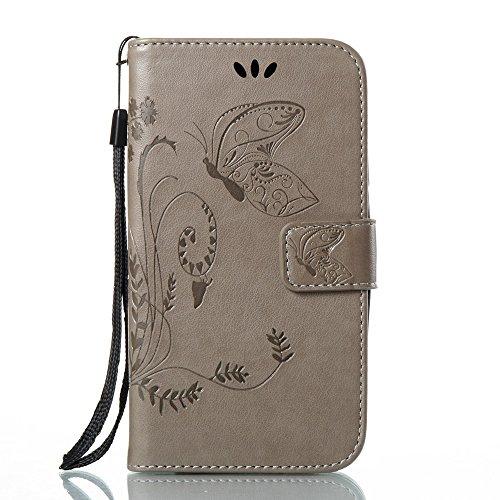 Solid Color Faux Leder Bookstyle Brieftasche Stand Case mit geprägten Blumen & Lanyard & Card Slots für Huawei Y3 2017 ( Color : Black ) Gray