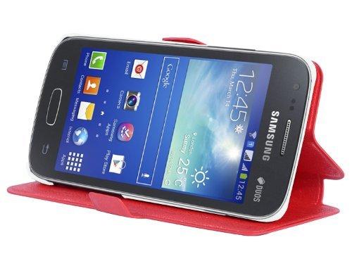 Cadorabo - Ultra Slim Book Style Hülle für Samsung Galaxy ACE 3 (GT-S7275) mit Kartenfach und Standfunktion - Etui Case Cover in ICY-ROT