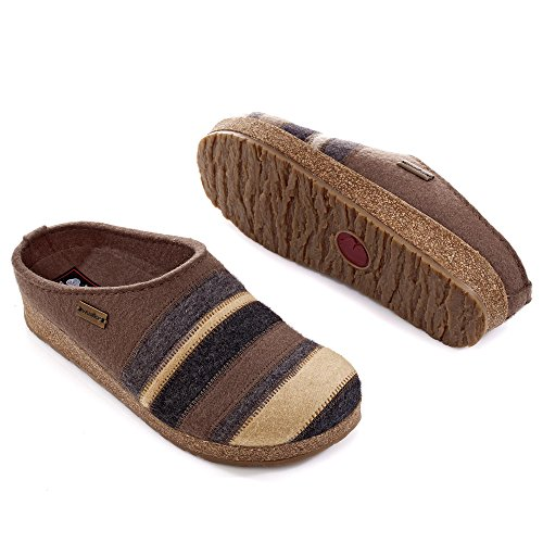 Haflinger Stripes Grizzly, Pantofole Donna Grau