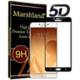 Marshland 5D Full Glue Screen Protector 9H Hardness Bubble Less Oleo Phobic Coating Perfect Fit Tempered Glass for Samsung Galaxy C9 Pro (Black)