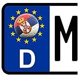3 x Kennzeichen-Aufkleber Ball SERBIEN Flagge KFZ Motorrad FanShirts4u SERBIA