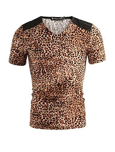 Mann Aus Den Bergen, Tee (Allegra K Männer normal Leopard Muster Kurzarm Sommer Hemd T-shirt kurzarm)