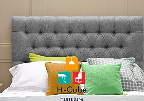 H-Cube Furniture Upholstered Padded Divan Bed Base Headboard Turin Fabric - Matching/Diamante Buttons Option - 20/24/26/30 Inches Height (50/60/66/76 CM Approx) Thickness 2 Inches (Approx) With Struts & Fixings - Various Colors Available (Grey - Matching