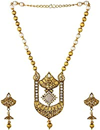 Ce'lavy Temple Jewellery Statement Necklace With Pearl Beads In Gold Tone With Pearl Drop Dangler Earrings Earings...