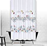 "Quality Extra Long and Wide Polyester Fabric Bathroom Shower Curtain. 240 x 200CM (94"" x 78"") Birds"