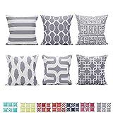 """Comoco Set di 6 Coordinato Geometrico Stampa Digitale Decorativo Caso Cuscino Cuscino 18""""x 18"""" 45 cm x 45 cm-Grey"""