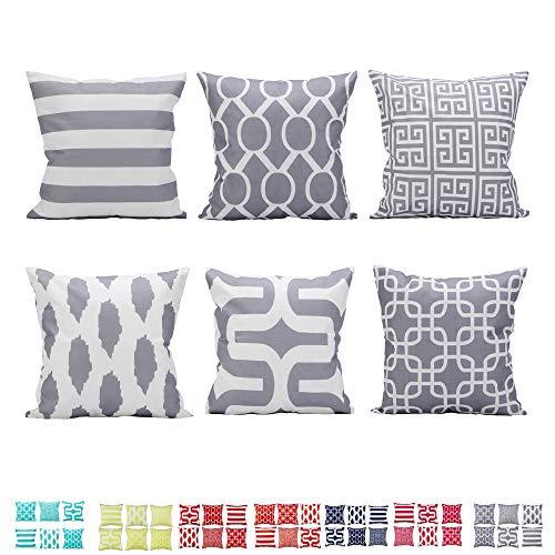 Comoco Set di 6 Coordinato Geometrico Stampa Digitale Decorativo Caso Cuscino Cuscino 18'x 18' 45 cm x 45 cm-Grey