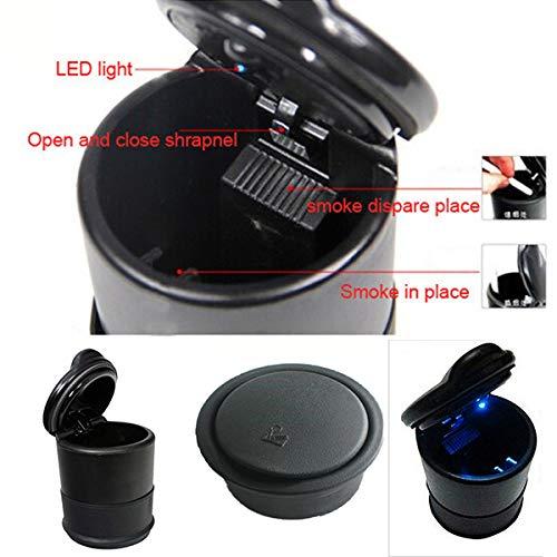 Hotsystem universale posacenere portatile per auto con blu luce a led, per porta-bicchieri, con coperchio antiscivolo