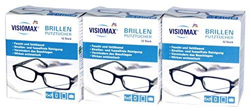 Brillen Putztücher - Feucht und fettlösend für eine streifenfreie Reinigung - 156 Stück - 3er Pack (3 x 52 Stück) - für alle Brillengläser aus Glas und Kunststoff