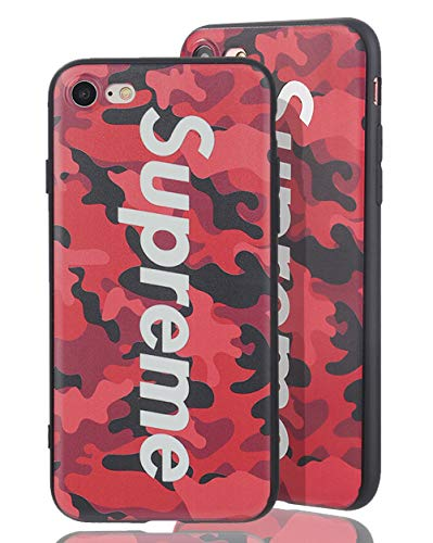 SUP Camo Case [ Kompatibel mit Apple iPhone 7/8, in Rot ] Supreme Hülle im Camouflage Design - Army Tarnmuster - Fühlbares 3D-Motiv (Case Supreme)