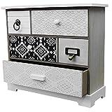 Wohaga Kleiner Schubladenschrank mit 5 Schubfächern 33x30x12cm Schmuckschrank Badezimmerschrank Badschrank Schmuckbox Organizer für Bad Büro Haushalt