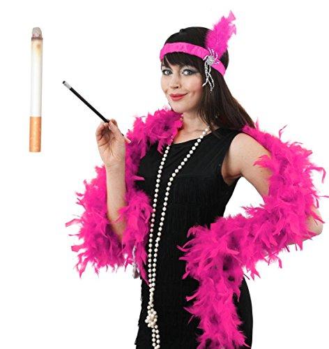 ILOVEFANCYDRESS Kostüm im Stil der 20er-Jahre, mit Federboa, Kopfschmuck, Kunstperlen-Halskette, falscher Zigarette und Zigarettenhalter, Pink