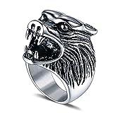 Daesar Titan Herren Ring Titanring Silber Schwarz Gothic Wolfskopf Partnerring Freundschaftsring Ring Größe 57 (18.1)
