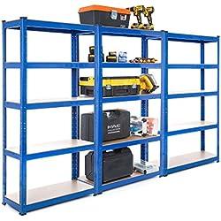 Racking Solutions - 3 unités de rayonnage / étagères garage en acier, charges lourdes, capacité de charge totale 2250kg (5niveaux 1500mm H x 750mm L x 300mm P) + Livraison Gratuite