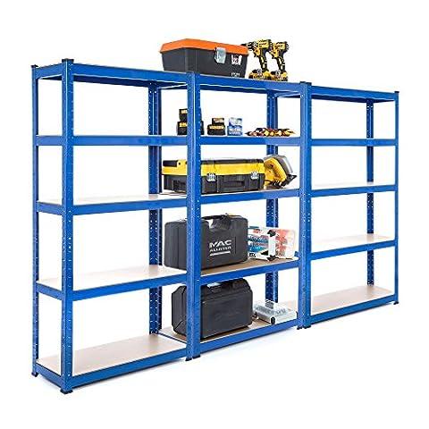 3bay Heavy Duty en acier Rayonnage Garage d'150kg par étagère (5niveaux 1500mm H x 750mm L x 300mm D) + Gratuit Livraison le jour suivant