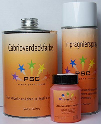 Set Cabrioverdeckfarbe 1000 ml Schwarz 100 ml Shampoo 400 ml Imprägnierung