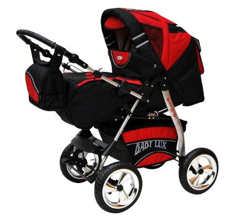 Lux4Kids King Kinderwagen Safety-Sommer-Set (Sonnenschirm, Autositz & ISOFIX Basis, Regenschutz, Moskitonetz, Getränketablett, Matratze, Wickelunterlage) 32 Cosmic Black & Hot Red