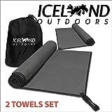 Juego de toallas de microfibra de camping, una grande 140x80 cm, una pequeña de 80x40 cm - Suave y súper absorbent