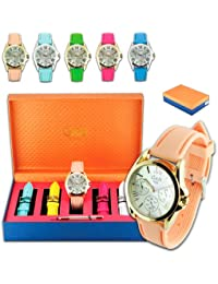 Set reloj mujer GANDB RGB-43660 5 correas surtidas