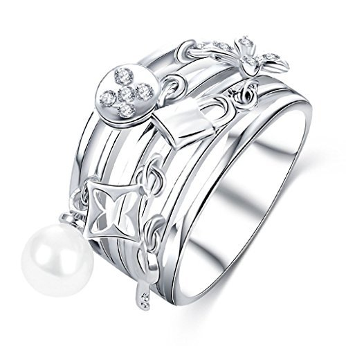 Beydodo Silver Plated Ring For Women Cubic Zircon Lock Key Flower Shape With Pearl Charm Size N 1/2