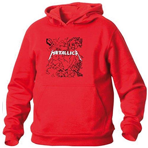 Art T-shirt, Felpa Con Cappuccio Metallica Tribute, Uomo, Rosso, S