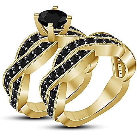 Vorra Fashion Criss Cross Twist SIM RD NERO DIAMANTE Anello di fidanzamento in argento Sterling 925placcato oro 14K - Diamante Criss Cross Anello