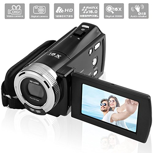 PowerLead Mini DV C8 16MP High Definition Digital Video Camcorder DVR 2.7 '' TFT LCD 16x Zoom Hd Video Recorder Kamera 1280 x 720p Digital Video Camcorder (schwarz) (Hd-video-camcorder)