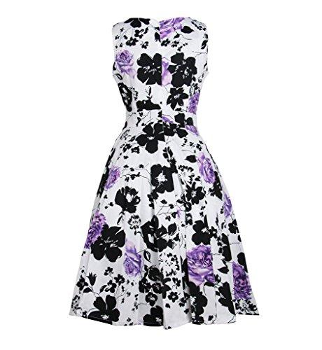 Surenow Robe vintage Rockabilly Floral Rétro Plissé Violet