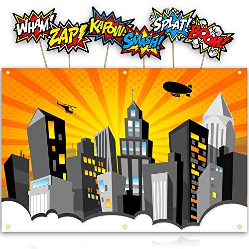 XL Superhelden-Hintergrund mit 6 Comic-Foto-Requisiten, passend zu jeder Superhelden-Geburtstagsparty, Stadtlandschaft, Banner, Dekoration zum Aufhängen an der Wand Orange (Black Green Arrow Kostüm)