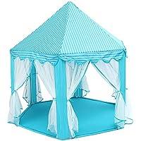 Shuzhen,140x135cm Princesa Grande Castillo Tulle Casa de los niños Juego Venta de Carpa Yurt Creative(Color:Azul)