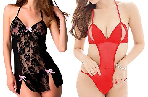 Special Offer! Pack of 2 Babydoll lingerie for Women, Bomshel Women Babydoll Nightwear lingerie with panty (Black , Red)