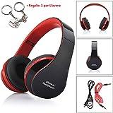 Malloom® Plegable estéreo Bluetooth Wireless Headset Manos Libres Auriculares Mic (rojo )