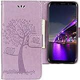 CLM-Tech kompatibel mit Samsung Galaxy S9 Hülle, Tasche aus Kunstleder, Baum Eule lila, PU Leder-Tasche für Galaxy S9 Lederhülle